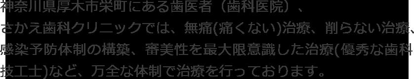 神奈川県厚木市栄町にある歯医者(歯科医院)、さかえ歯科クリニックでは、無痛(痛くない)治療、削らない治療、感染予防体制の構築、審美性を最大限意識した治療(優秀な歯科技工士)など、万全な体制で治療を行っております。